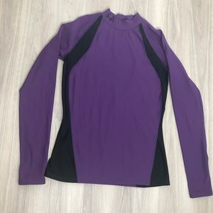 Under Armour cold gear purple and black top, L